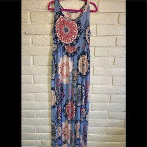 Haute Cactus Dress Maxi Sleeveless Pockets Size 1X